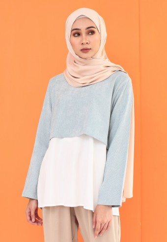 CORDUROY CROP BLOUSE IN BABY BLUE