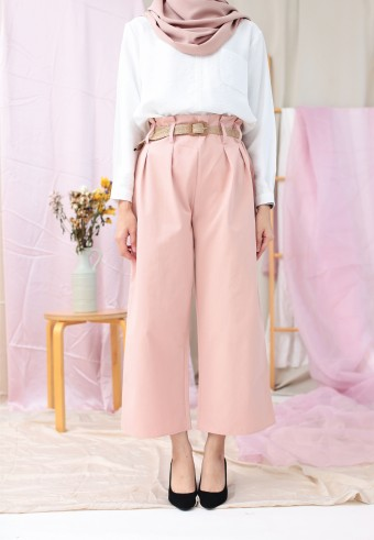 WIDE PANTS WITH BELT IN DUSTY PINK