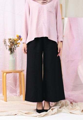 ROPED WIDE PANTS IN BLACK