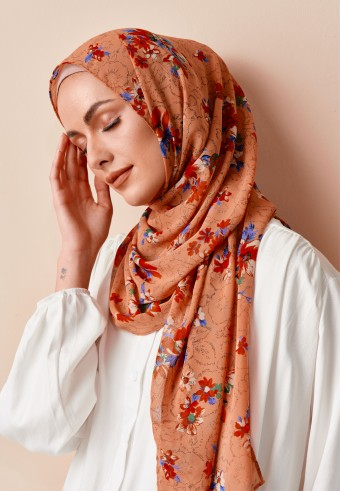Naisha printed long shawl in tangerine