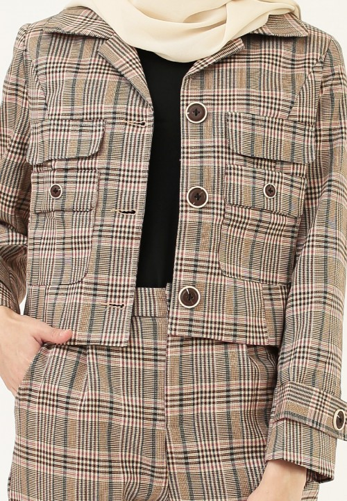 CHECKERED BLAZER SET IN BROWN & PINK