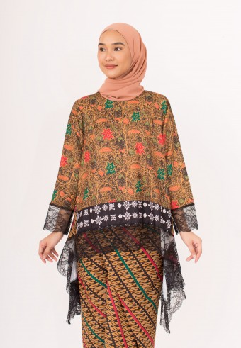 Indah Javanese Kaftan In Black Orange