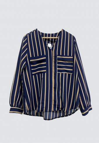 V-NECK DOUBLE POCKET STRIPED TOP IN NAVY BLUE