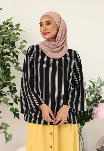 VERTICAL STRIPES TOP IN BLACK