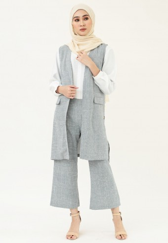 VEST CHECKERED SET IN GREY
