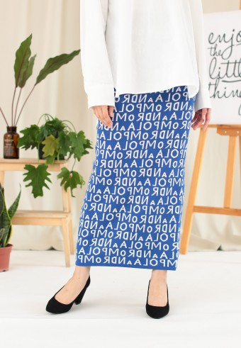 WORDS SLIM SKIRT IN BLUE