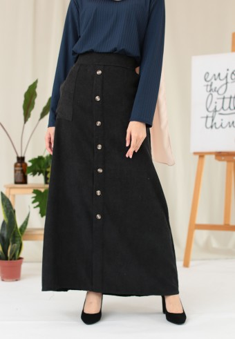 CORDUROY BUTTON SKIRT IN BLACK