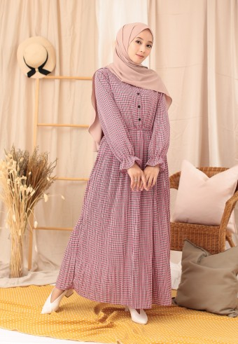 PLAID LONG DRESS IN PINK