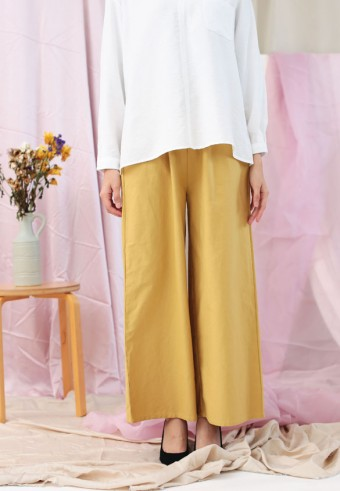 ROPED WIDE PANTS IN MUSTARD