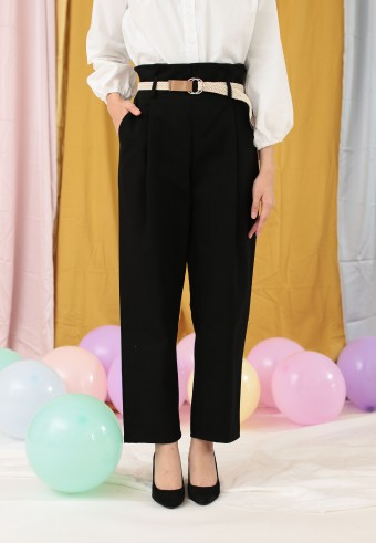 PLEAT FRONT PANT IN BLACK