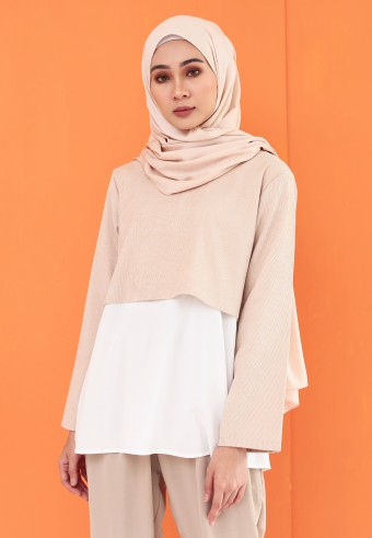 CORDUROY CROP BLOUSE IN NUDE