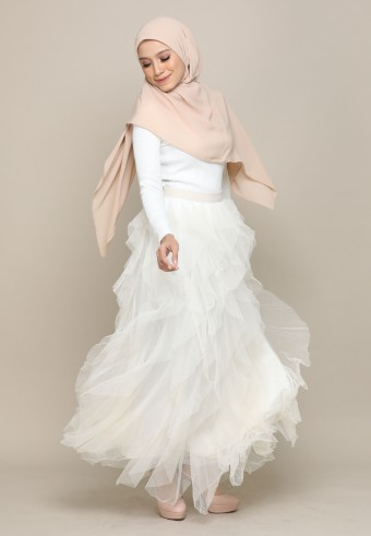 A-CUT TUTU SKIRT IN CREAM