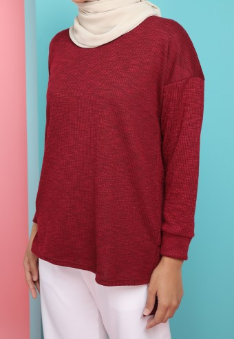 IRONLESS WOOL TOP IN MAROON