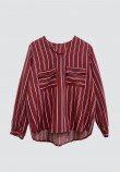 V-NECK DOUBLE POCKET STRIPED TOP IN MAROON