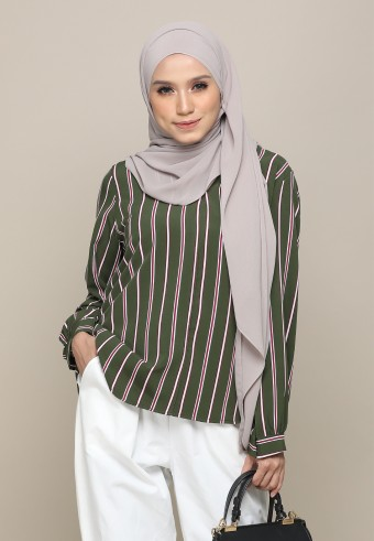 V-NECK STRIPED TOP IN GREEN