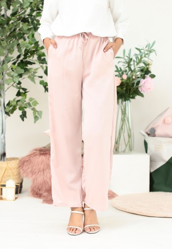 SILK STRAIGHT CUT PANT IN DUSTY PINK