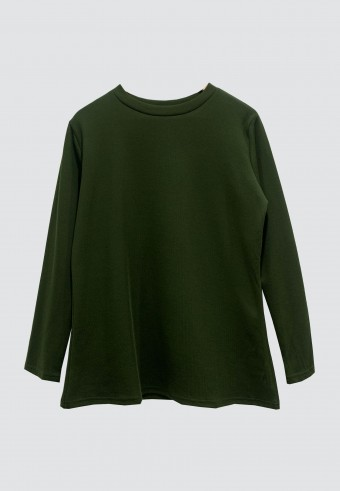 ROUND NECK SLIM TOP IN GREEN