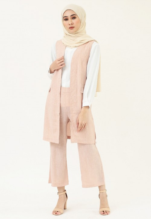 VEST CHECKERED SET IN PINK