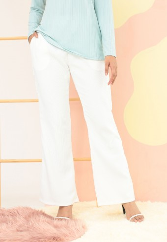 CORDUROY BOOTCUT PANTS IN WHITE