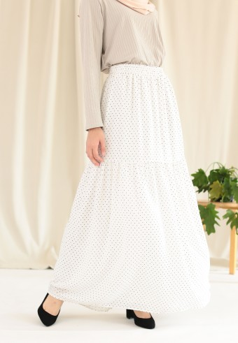POLKADOT RUFFLE SKIRT IN WHITE