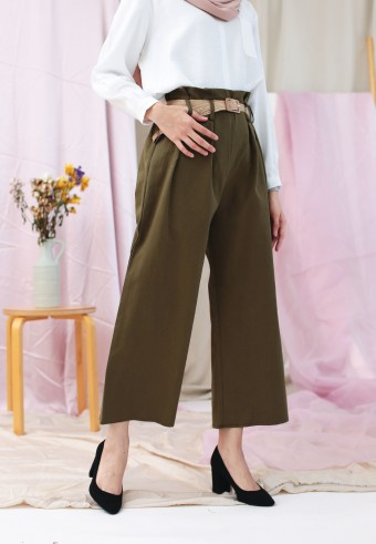 WIDE PANTS WITH BELT IN ARMY GREEN