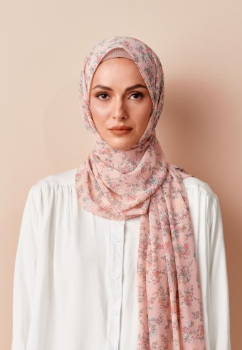 Naisha printed long shawl in blush