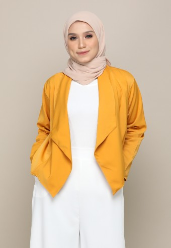DRAPED OPEN FRONT BLAZER IN MUSTARD