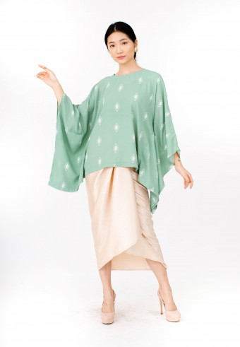 Kurong Kaftan in Green & Cream