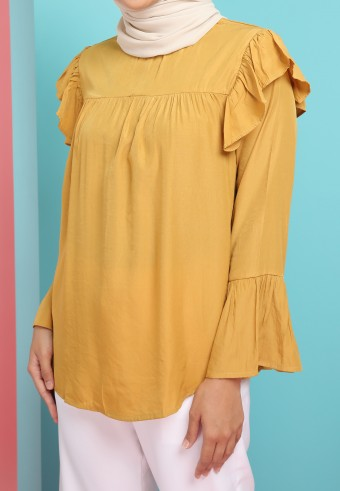 HIGH NECK RUFFLE SHOULDER TOP IN MUSTARD