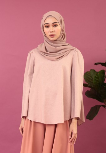 BELL SLEEVE LINEN TOP IN DUSTY PINK