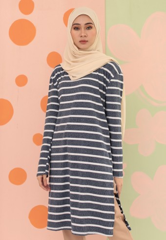 BIG STRIPES LONG TOP IN BLUE