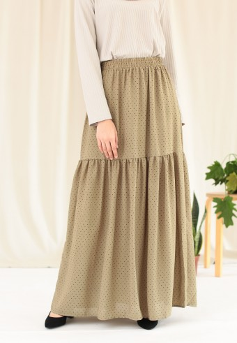POLKADOT RUFFLE SKIRT IN OLIVE