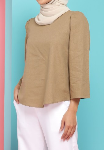 BELL SLEEVE LINEN TOP IN BROWN