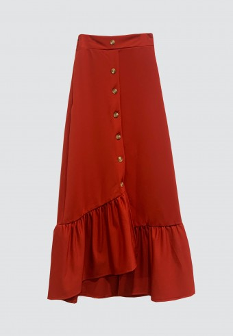 BUTTON DOWN SKIRT WITH RUFFLES IN RED