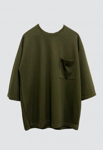 FRONT POCKET LOOSE TOP IN ARMY GREEN