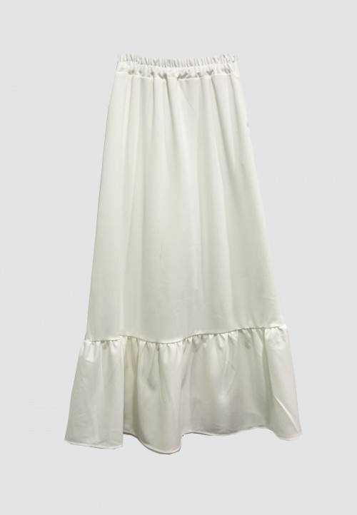 BUTTON DOWN SKIRT WITH RUFFLES IN WHITE