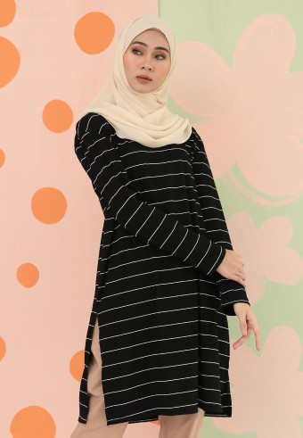 BIG STRIPES LONG TOP IN BLACK