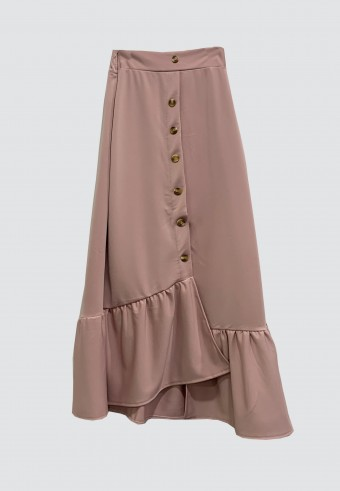 BUTTON DOWN SKIRT WITH RUFFLES IN DUSTY PINK