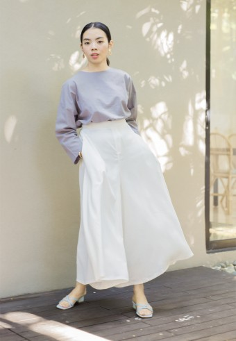 Mori wide pants in Milk