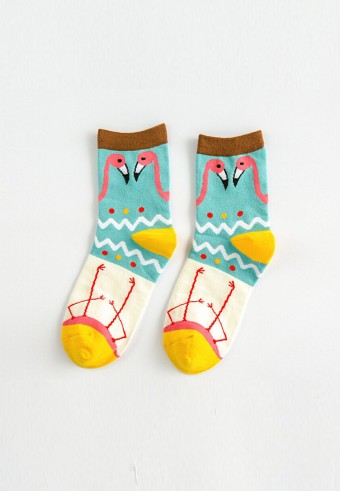 QUARTER FLAMINGO SOCKS IN MINT & YELLOW