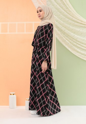 CHECKERED LONG DRESS IN BLACK