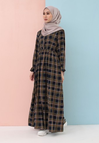 PLAID LONG DRESS IN NAVY BLUE