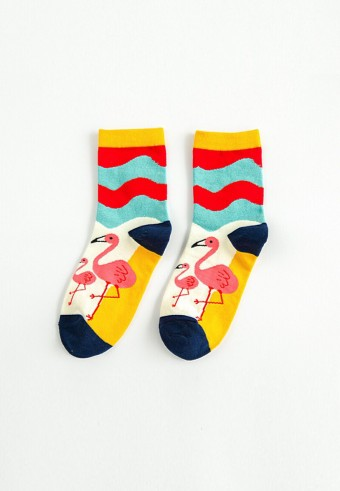 QUARTER FLAMINGO SOCKS IN NAVY BLUE & YELLOW