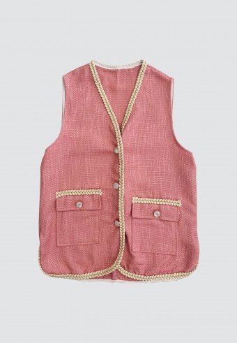 SLEEVELESS CARDIGAN IN PINK