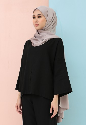 FISHTAIL PLAIN LINEN TOP IN BLACK
