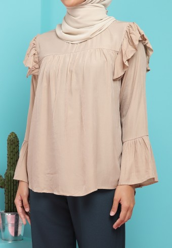 HIGH NECK RUFFLE SHOULDER TOP IN LIGHT BROWN