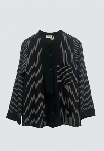 KOREAN STYLE STRIPED TOP IN BLACK