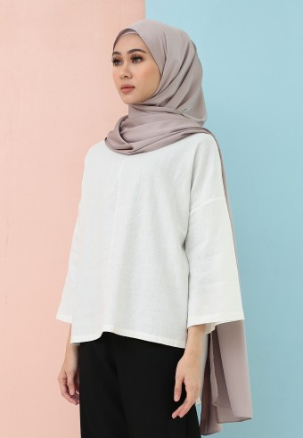 FISHTAIL PLAIN LINEN TOP IN WHITE