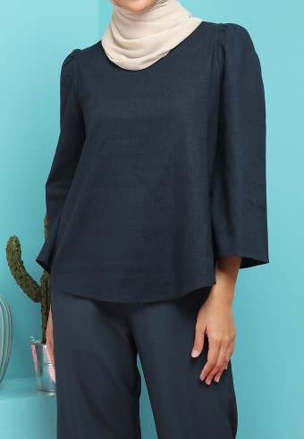 BELL SLEEVE LINEN TOP IN EMERALD BLUE