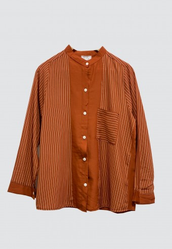 KOREAN STYLE STRIPED TOP IN BROWN